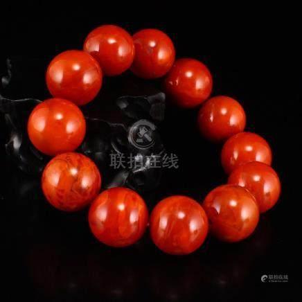 19 MM Chinese Natural Nanhong Agate Beads Bracelet