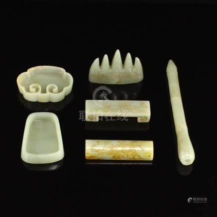 A Set Vintage Chinese Hetian Jade Handwriting Tools