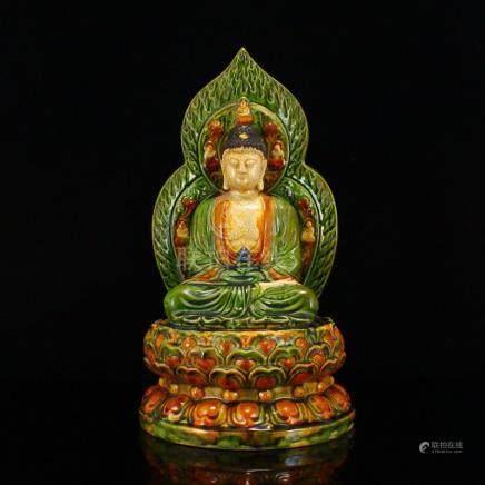 Chinese Tang Sancai Porcelain Siddhartha Buddha Statue