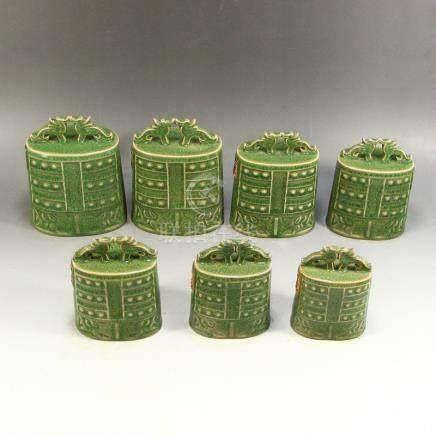 A Set Long Quan Kiln Porcelain Music Bell Statues