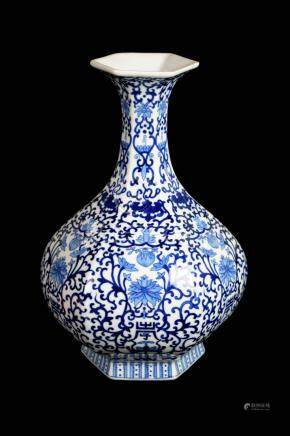 Chinese Blue and White Porcelain Long Neck Vase with