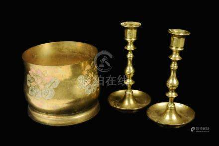 [Indian] A Brass Flower Urn and a Pair of Brass Candle