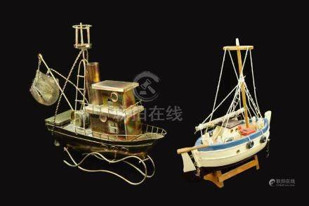 Two Pieces of Wood and Metal Boat Models