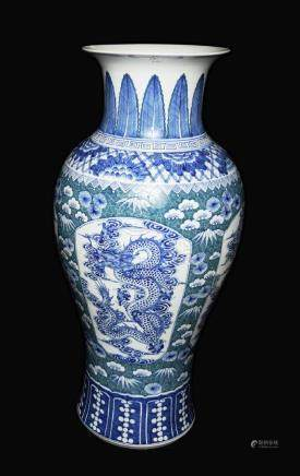 A Large Chinese Blue and White Plus Green Porcelain
