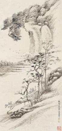 黃易 江岸草亭圖  嘉慶五(1800)年作