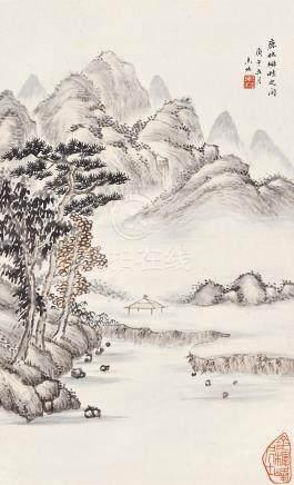 劉鳳起 溪山晚照  庚午(1930)年作