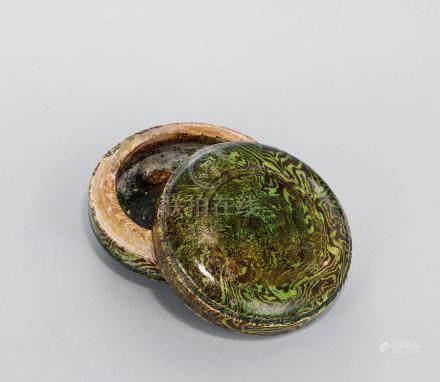 唐 綠釉絞胎蓋盒