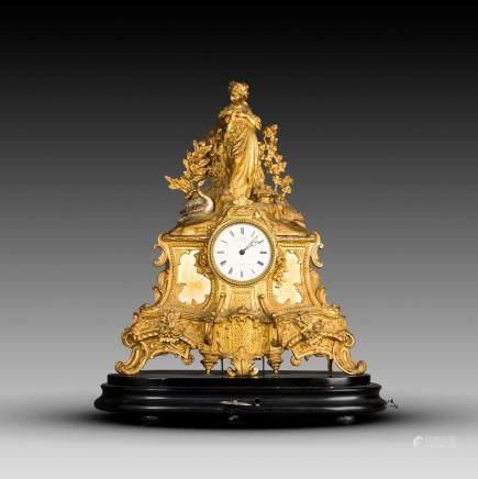 A FRENCH LOUIS XV L. MARTI FIGURAL MANTEL CLOCK