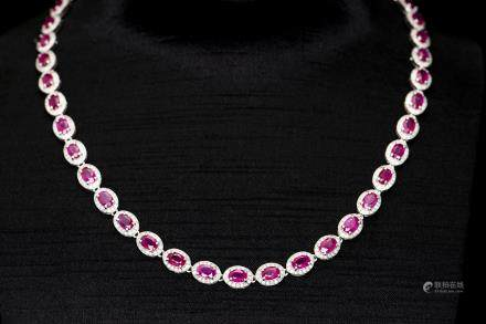 A STRAND OF RUBY & DIAMOND NECKLACE, AIG CERTIFICATE
