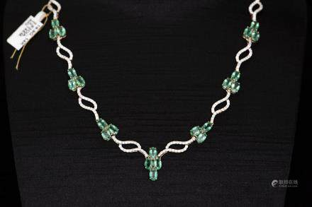 A STRAND OF EMERALD & DIAMOND NECKLACE, AIG CERTIFICATE