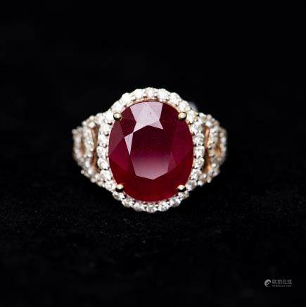 A RUBY & DIAMOND RING, AIG CERTIFICATE