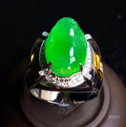 AN IMPERIAL GREEN, JADEITE RING, GIA CERTIFICATE