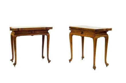 A PAIR OF HUANG HUALI CARD TABLES, 18TH CENTURY (Y)