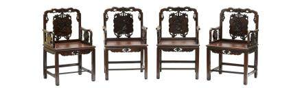 FOUR CHINESE CLASSICAL HONGMU ARMCHAIRS SET (Y)