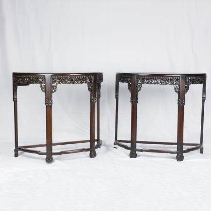 SUANZHI' CHINESE ROSEWOOD TABLES PAIR, QING DYNASTY (Y)