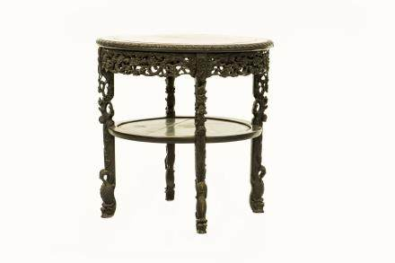 A CHINESE HARDWOOD STONE-INLAID CIRCULAR TABLE (Y)