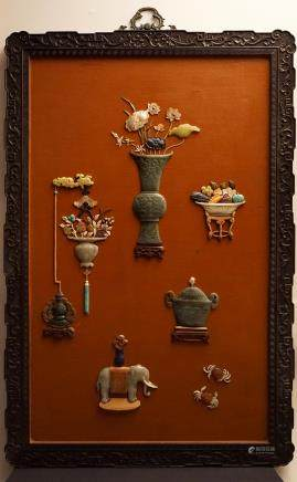 A CHINESE JADE & HARDSTONE INLAYS HANGING SCREEN (Y)