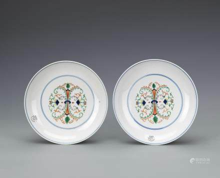 A PAIR OF CHINESE DOUCAI DISH, DAOGUANG PERIOD