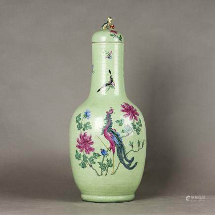 A FAMILLE ROSE LIME-GREEN GROUND VASE, 18TH CENTURY