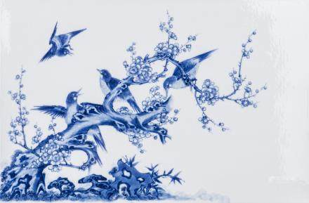 A CHINESE BLUE & WHITE PORCELAIN PLAQUE, QING DYNASTY