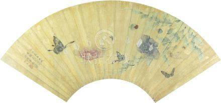 清 湘贞画蝴蝶花卉 扇面 设色纸本 扇面