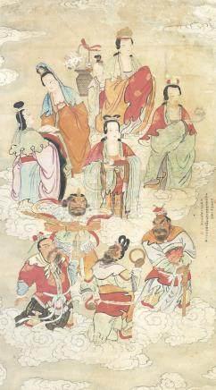 佚名 十地菩萨图 设色纸本 立轴