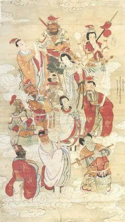 佚名 诸天圣众图 设色纸本 立轴