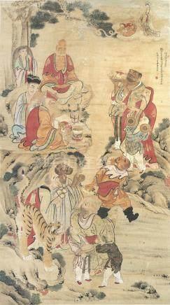 佚名 罗汉圣众图 设色纸本 立轴