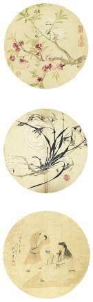 蒋莲 人物、花卉、兰草三屏 设色绢本 立轴