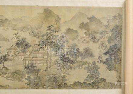 """Chinesische Querrolle """"Landschaft"""", bez. """"Auszug zur Herbstzeit"""", Kopie nach Wang Kuan (13.Jh.),"""