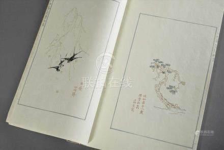 Chinesisches Buch mit Farbholzschnitten und Blinddrucken als Künstlervorlagen, 31x21cm, Einband etw.