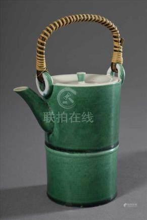 """Kleine grüne japanische grüne Porzellan Kanne """"Bambusrohr"""", H. 14,5cmSmall green Japanese"""