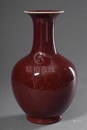 Große Balustervase mit Sang-de-boeuf-Glasur, 20.Jh., H. 40cmLarge baluster vase with sang-de-boeuf