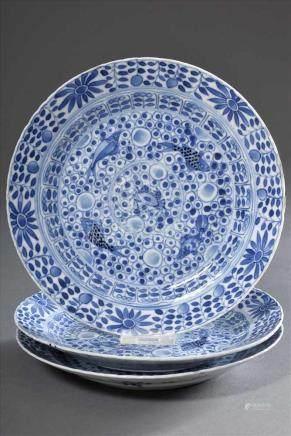 """3 Diverse Teller mit Blaumalerei """"Fischblasen und Fische"""", Kangxi, 18.Jh, Ø 20,5cm, 2x defekt/z.T."""