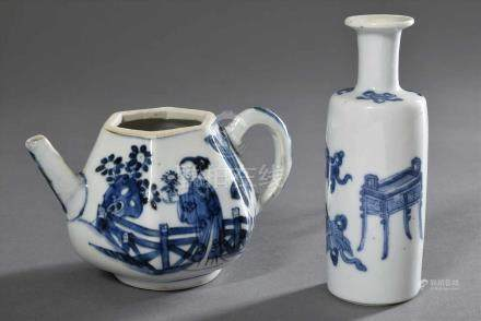 """2 Diverse Teile chinesisches Porzellan mit Blaumalerei: Vase in Schlegelform """"Kostbarkeiten"""", Yue"""