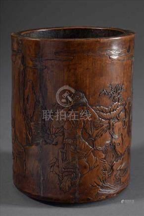 """Chinesischer Bambus Pinselbecher """"Schönheiten"""" mit Gedichten und Siegelmarke im Flachrelief, Qing"""