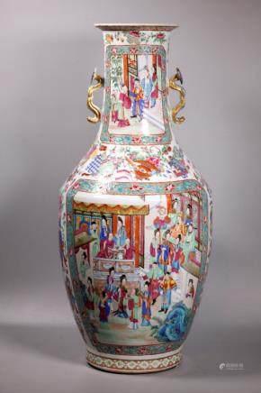 Lg Chinese 19 C Rose Mandarin Porcelain Vase