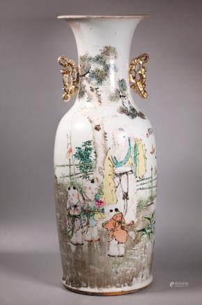 Yurong Sheng; Chinese Artist's Porcelain Lg Vase