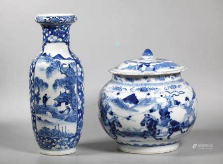 2 Chinese 19 C Blue & White Porcelains; Vase Jar