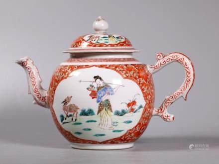 Chinese 18C Magu & Deer Enameled Porcelain Teapot