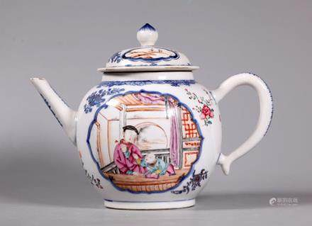 Chinese 18 C Blue & Famille Rose Porcelain Teapot