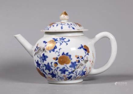 Chinese 18 C Blue Enamel & Gold Porcelain Teapot