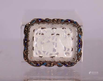 Chinese Ming Qing White Jade & Enameled Silver Pin