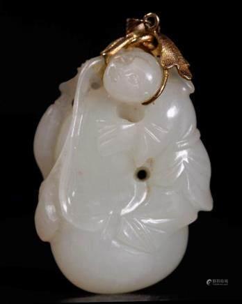 Chinese 18/19C White Jade Boy & Gourd 14K Pendant