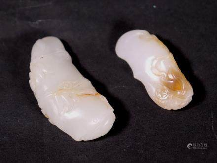 2 Chinese Well Carved White Jade Pendants