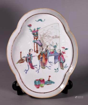 Chinese 19 C Enameled Porcelain Quatrefoil Tray