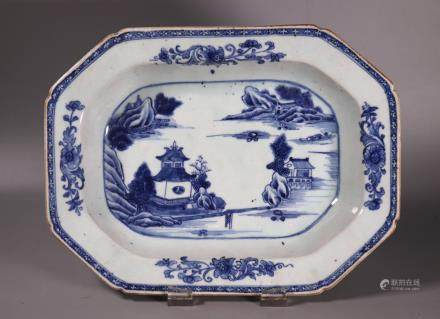 Chinese 18 C Blue & White Porcelain Rectangle Bowl