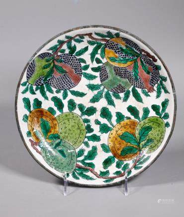 Chinese Qing Biscuit Porcelain Dragon Plate