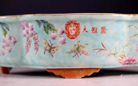"Chinese 19C ""Daya Zhai"" Enameled Porcelain Planter"