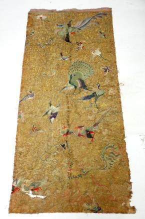 Chinese 19C Bird Pair Embroidery Heavy Gold Ground